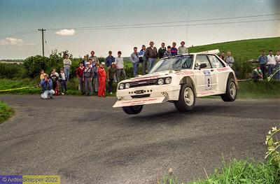 Eamonn McAleenan's Toyota Starlet was flying high at the 1989 ALMC Rally