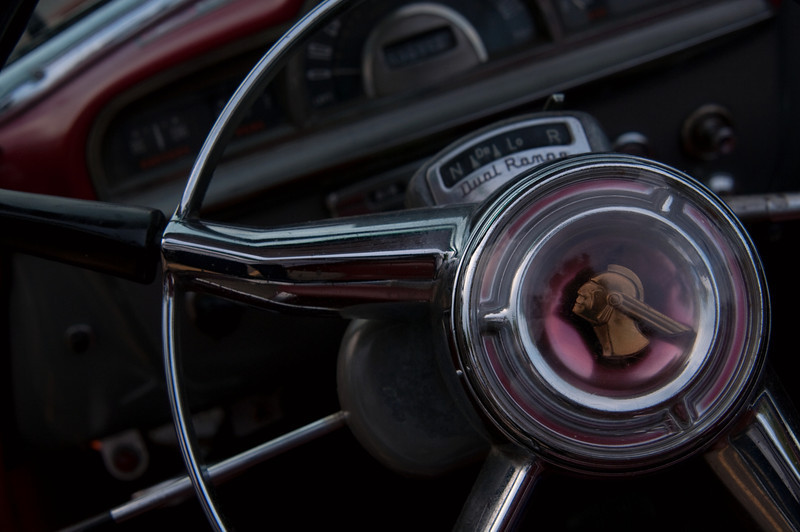 <br> <br> Steering Wheel of a 1952 Pontiac Chieftain Convertible <br> <br>