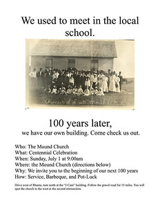 I prepared these posters to advertise my church's upcoming centennial celebration