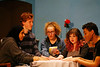 HOLLY PELCZYNSKI - BENNINGTON BANNER highschool actors Alanood Belal, Gabe Shatz, Elizabeth Malinowski, Kira Hanson, and Izaiah Rhodes perform a seance scene during the high school performance of Blithe Spirit performed by the seniors at Mount Anthony Union high school the performance will debut  April 12-14 at 7 pm, with a matinee at 2 pm on Sat. 14th. Tickets ($8) and can be purchased at the high school office or can be purchased at the door.
