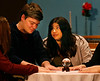 HOLLY PELCZYNSKI - BENNINGTON BANNER Ben Bushee, and Sienna McFaline perform a scene together as Charles Condomine and Madame Arcati in theatrical comedy of Blithe Spirit performed by the seniors at Mount Anthony Union high school the performance will debut  April 12-14 at 7 pm, with a matinee at 2 pm on Sat. 14th. Tickets ($8) and can be purchased at the high school office or can be purchased at the door.