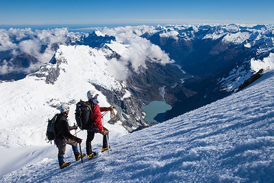 Two climbers on north west ridge of Mount Aspiring, Mount Aspiring National Park