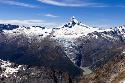 Mount Aspiring and Bonar Glacier above Waipara Valley