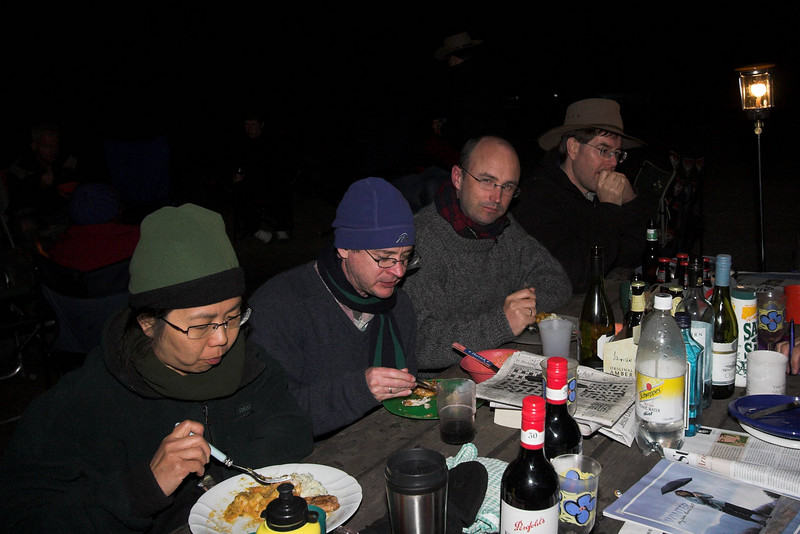 Anita Harrick, David Reckenberg, Dale Bradbury and Jon Buttery eat dinner.