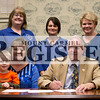 Marcus Smith/The Register<br /> <br /> Mayor Bill Hudson signs a proclimation declaring April Child Abuse Awareness Month March 14 in the Council Chamber at City Hall. Pictured : Back Row - Teresa Miller, Mistie McQueen, both from the Guardian Center, and Judy Wissel, director of behavioral health at the Depot Counseling Center; Front Row - Cathy Isle, AOK coordinator at the Wabash Health Department, Jase Isle, 5, and Mayor Bill Hudson.