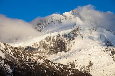 Morning light on East Face of Mount Sefton and Tuckett Glacier
