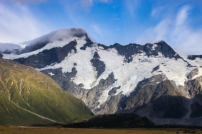 East Faces of Mount Sefton and The Footstool above Whitehorse Hill and lower Sealy Range. Main Divide, Aoraki Mount Cook National Park