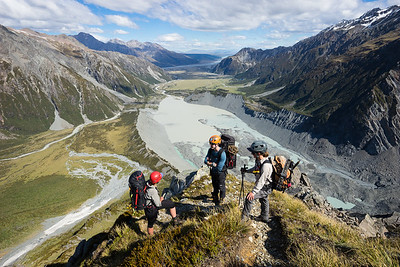 Sefton Bivouac route, above Muller Lake and hooker Valley. Aoraki Mount Cook National Park
