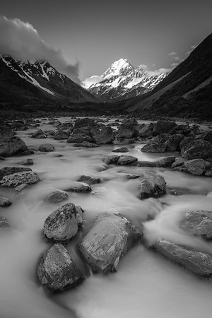 Late afternoon in the Hooker Valley, Hooker River and Aoraki Mount Cook, Canterbury
