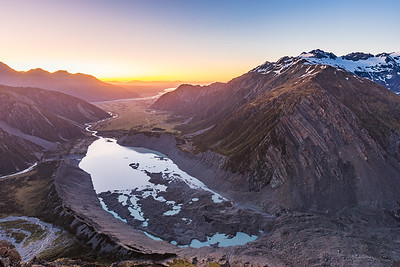 Hooker Valley and Mueller Glacier and Lake from Sefton Bivouac. Sealy Range on right
