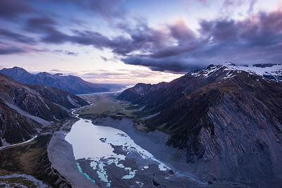 Mueller Glacier Lake, Hooker Valley, Mount Cook Village and Sealy Range from Sefton Bivouac