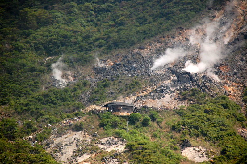 Sulfurous fumes rise from the ground at Owakudani