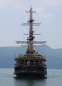 A sightseeing cruise ship on Lake Ashi
