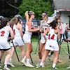 GEOFF SMITH — THE BERKSHIRE EAGLE<br /> The Mount Greylock girls lacrosse team celebrates after Emma Polumbo, center left, scored the go-ahead goal in the fourth quarter of Thursday's Central/Western Massachusetts Division II quarterfinal against Oakmont. The Mounties won 11-10.