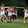 GEOFF SMITH — THE BERKSHIRE EAGLE<br /> The Mount Greylock girls lacrosse team celebrates its 11-10 victory over Oakmont in the Central/Western Massachusetts Division II quarterfinals. The Mounties won 11-10.