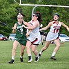 GEOFF SMITH — THE BERKSHIRE EAGLE<br /> Mount Greylock's Clare Sheedy goes to check Oakmont's Macy Cole as Greylock teammate Karen McComish trails behind during Thursday's Central/Western Massachusetts Division II quarterfinal. The Mounties won 11-10.