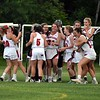 GEOFF SMITH — THE BERKSHIRE EAGLE<br /> The Mount Greylock girls lacrosse team celebrates its 11-10 win over Oakmont in the Central/Western Massachusetts Division II quarterfinals.
