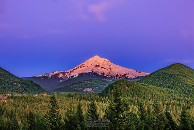 """The Glowing Mountain,"" Dusk over Mt Hood, Mount Hood National Forest, Oregon"