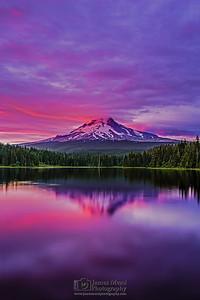 """Mount Hood Mirror,"" Sunset over Mt Hood and Trillium Lake, Mount Hood National Forest, Oregon"