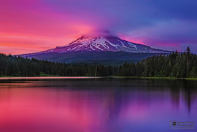 """Twilight Solace,""  Alpenglow at Dusk on Mt Hood and Trillum Lake, Mount Hood National Forest, Oregon"