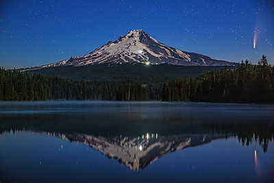 """Freeze Frame,"" Comet C/2020 F3 (Neowise) over Mount Hood and Trillium Lake, Mount Hood National Forest, Oregon"