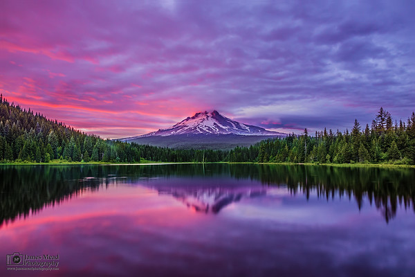 """Hood's Luster,"" Sunset over Mt Hood and Trillium Lake, Mount Hood National Forest, Oregon"