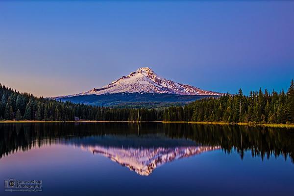 """Proud Mountain,"" Nautical Twilight over Mt Hood and Trillium Lake, Mount Hood National Forest, Oregon"