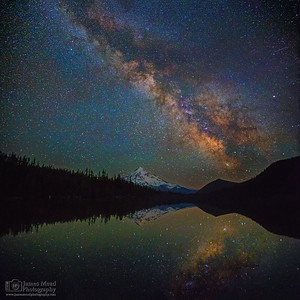 """Alpine Glass,"" The Milky Way over Mount Hood and Lost Lake, Mt Hood National Forest, Oregon"