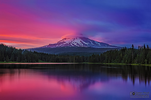 """""""Alpenglow Reflections,"""" Alpenglow at Dusk on Mt Hood and Trillium Lake, Mount Hood National Forest, Oregon"""