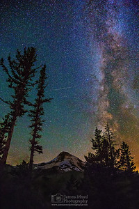 """Emerald Slumber ,"" the Milky Way over Mount Hood, Mt Hood National Forest, Oregon"