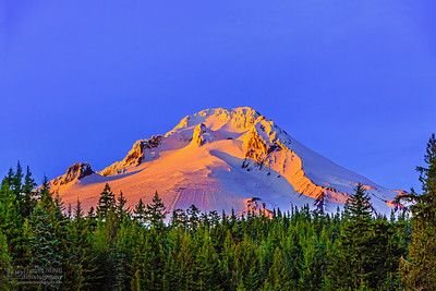 """Might Hood,"" Alpenglow on Mount Hood at Sunset, Mt Hood, Oregon"