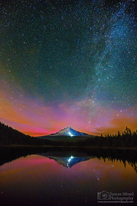 """Aurora's Climb,"" The Milky Way and Aurora Borealis over Mt Hood, Trillium Lake, Oregon"