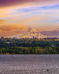 """Mount Hood Rising,"" Mount Hood Sunset over the Columbia River, Mt Hood, Oregon"