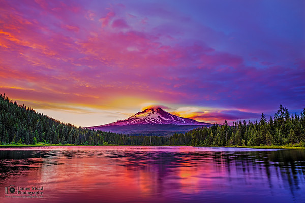 """""""The Lonely Mountain,"""" Sunset over Mt Hood and Trillium Lake, Mount Hood National Forest, Oregon"""