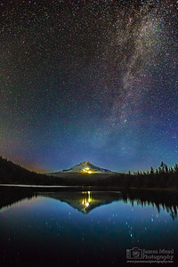 """Rise Hood,"" The Milky Way at Astronomical Sunrise over Mt Hood and Trillium Lake, Mount Hood National Forest, Oregon"