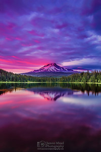 """Hood's Vanity,"" Sunset over Mount Hood and Trillium Lake, Mt Hood National Forest, Oregon"