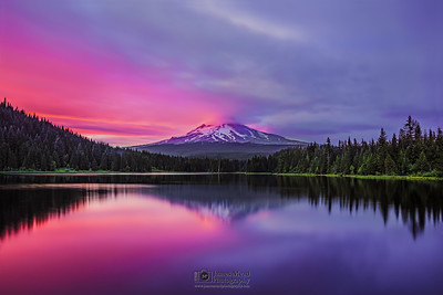 """Split Infinity,"" Alpenglow on Mt Hood and Trillum Lake at Sunset, Mount Hood National Forest, Oregon"