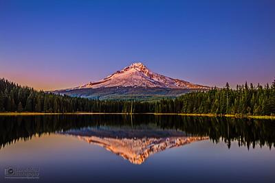 """Crisp Reflections,"" Dusk over Mt Hood and Trillium Lake, Mount Hood National Forest, Oregon"