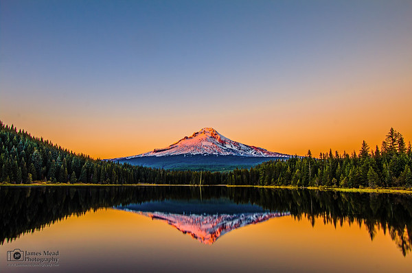 """Hood's Treasure,"" Sunset over Mount Hood and Trillium Lake, Mt Hood National Forest, Oregon"