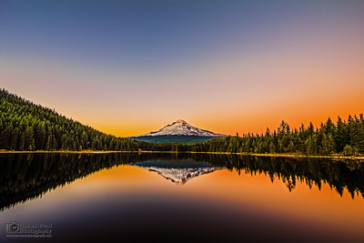 """Nature's Glow,"" Sunset over Mount Hood and Trillium Lake, Mt Hood National Forest, Oregon"