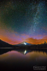 """Hood's Glow,"" The Milky Way and Aurora Borealis over Mt Hood, Trillium Lake, Oregon"
