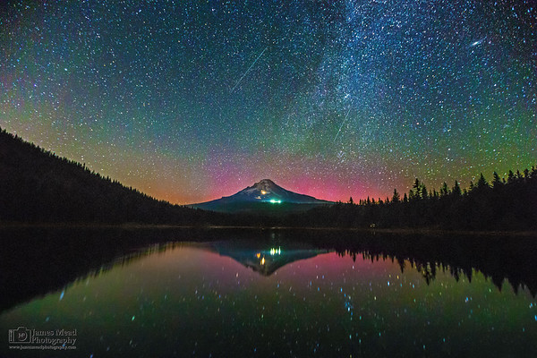 """""""Astral Projection,"""" The Aurora Borealis, Perseid Meteors, Andromeda Galaxy and Milky Way over Mt Hood and Trillium Lake, Mt Hood National Forest"""