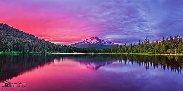 """Regal Wonder,"" Alpenglow on Mount Hood and Trillum Lake at Sunset, Mt Hood National Forest, Oregon"