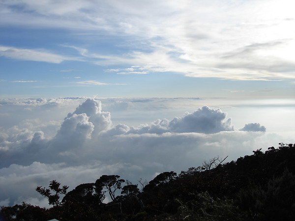 Laban Ratu is at 3,200m. Nearing sunset, looking down on the clouds provides a stunning vista.