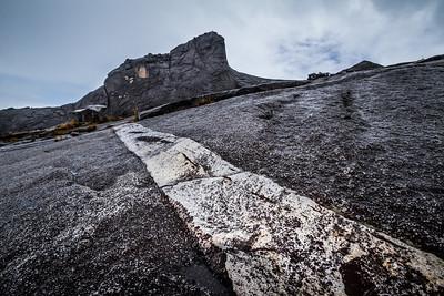 Mineral vein running through granite on the western plateau of Mount Kinabalu, Borneo