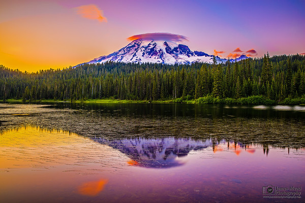 """Twins,"" Mt Rainier and Reflection Lake at Sunset, Mount Rainier National Park, Washington"
