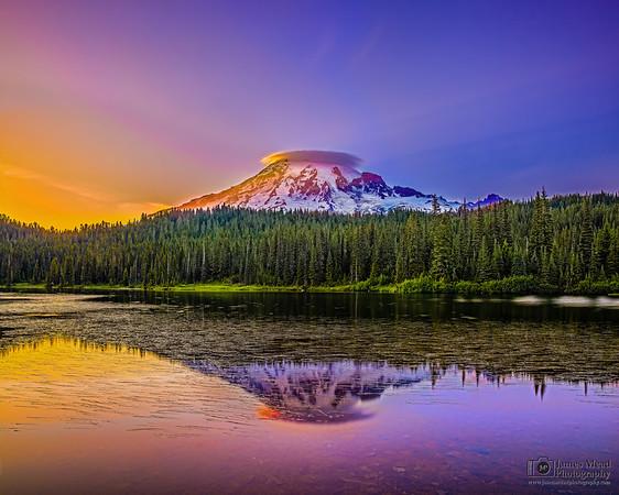 """Crowned Jewel,"" Mt Rainier and Reflection Lake at Sunset, Mount Rainier National Park, Washington"