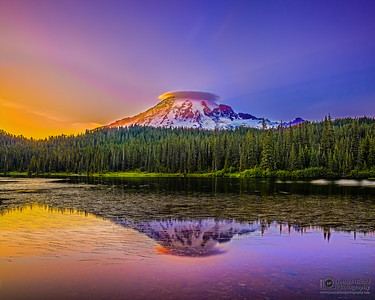 """Crowned Jewel,"" Mt Rainier and Reflection Lake at Sunset, Mount Rainier National Park, Washington"