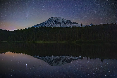 """Midnight Magic,"" Comet C/2020 F3 (Neowise) over Mount Rainier and Reflection Lake, Mount Rainier National Park, Washington"