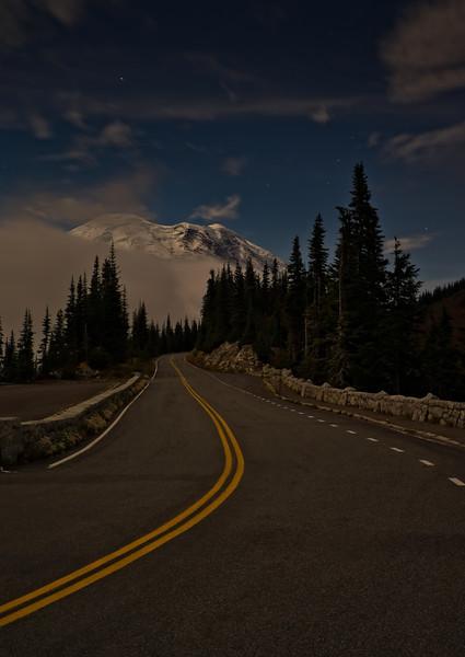 Moonlit road to Rainier